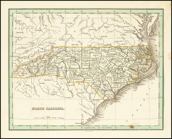 40-North Carolina Map By Thomas Gamaliel Bradford