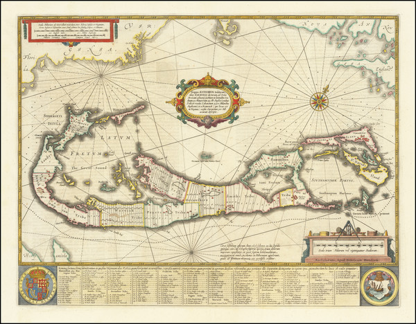 82-Bermuda Map By Henricus Hondius