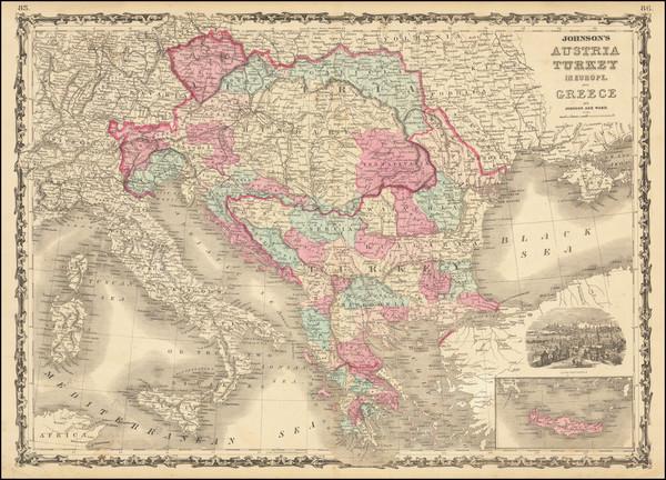 93-Hungary, Balkans, Greece and Turkey Map By Alvin Jewett Johnson  &  Benjamin P Ward