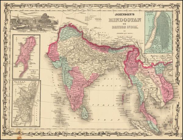 91-India, Malaysia and Thailand, Cambodia, Vietnam Map By Benjamin P Ward  &  Alvin Jewett Joh