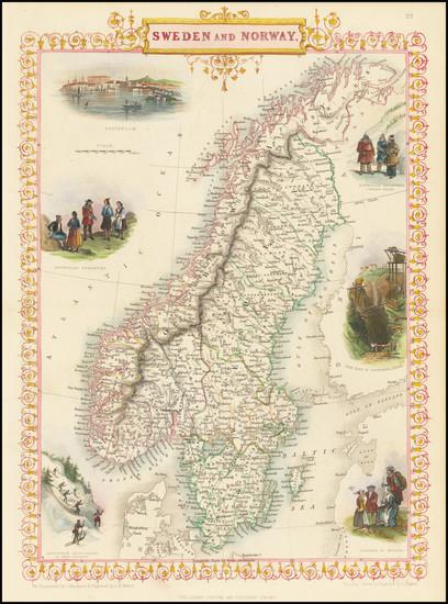 98-Scandinavia, Sweden and Norway Map By John Tallis