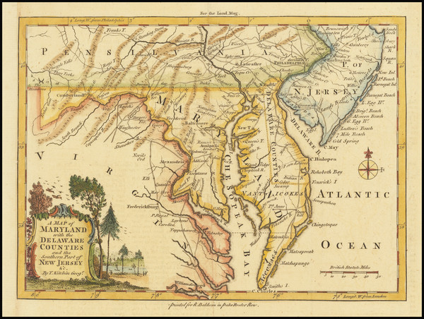 44-Mid-Atlantic, New Jersey, Pennsylvania, Maryland and Delaware Map By London Magazine