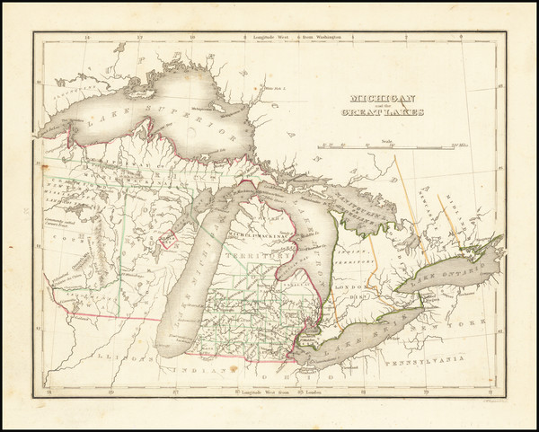 13-Midwest, Michigan, Wisconsin and Canada Map By Thomas Gamaliel Bradford