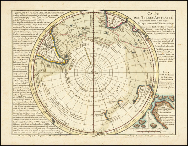 36-Southern Hemisphere, Polar Maps and New Zealand Map By Philippe Buache