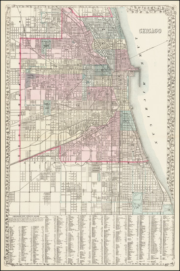 61-Illinois and Chicago Map By Samuel Augustus Mitchell Jr.