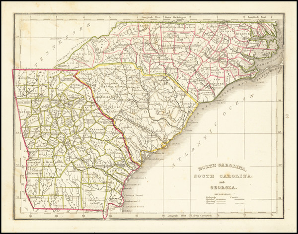 20-Georgia, North Carolina and South Carolina Map By Thomas Gamaliel Bradford