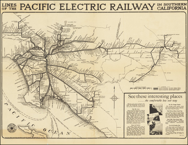 93-California and Los Angeles Map By D.W. Pontius / Pacific Electric Railway