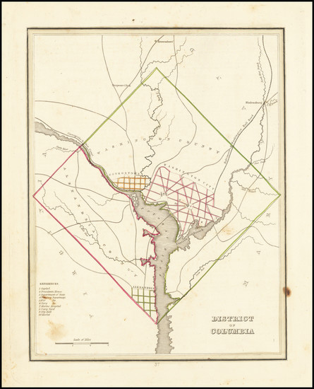 99-Washington, D.C. Map By Thomas Gamaliel Bradford