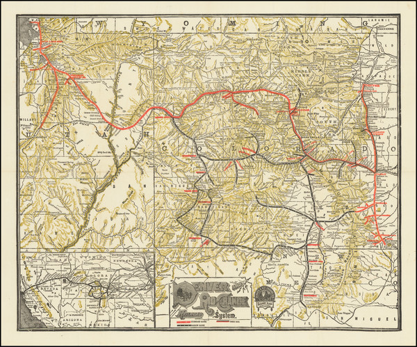 45-Colorado, Utah, Colorado and Utah Map By Denver & Rio Grande RR