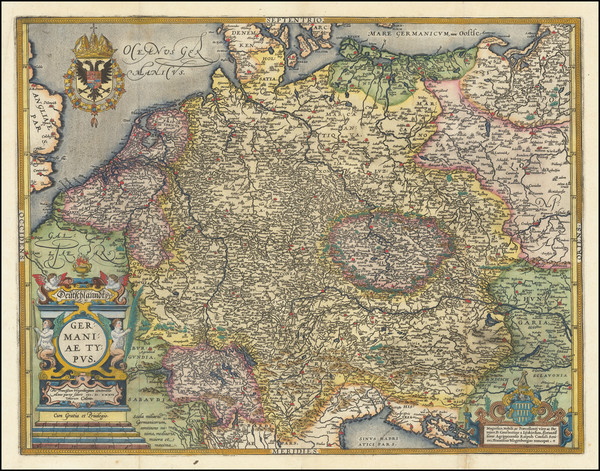 60-Europe, Netherlands, Germany, Poland and Baltic Countries Map By Abraham Ortelius / Johannes Ba