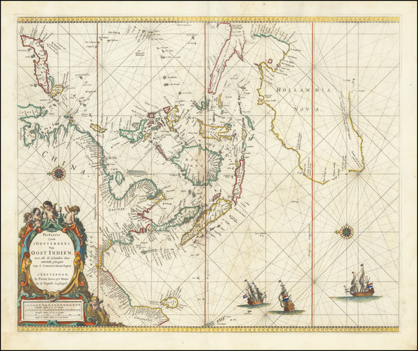 23-Indian Ocean, China, Southeast Asia and Australia Map By Pieter Goos