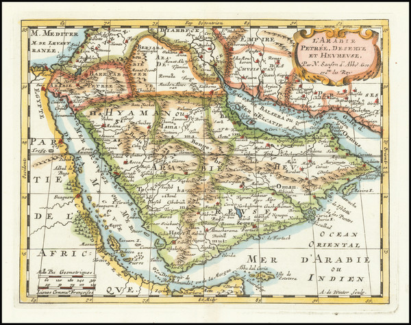 25-Middle East and Arabian Peninsula Map By Nicolas Sanson
