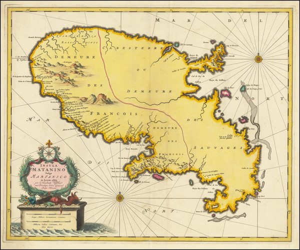 52-Martinique Map By Nicolaes Visscher I