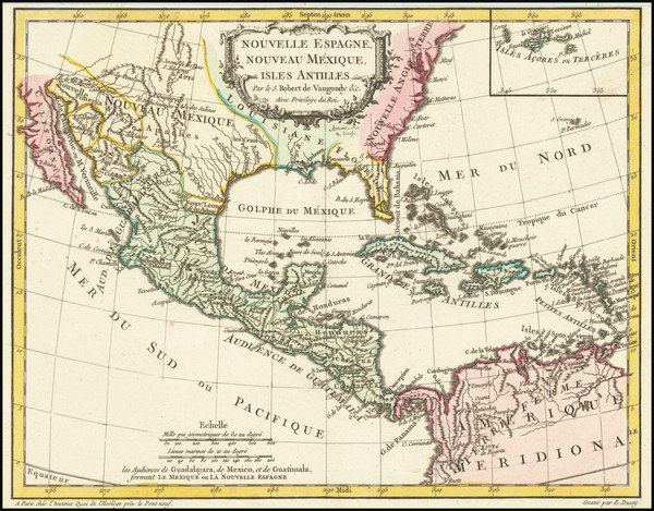 85-Southeast, Texas, Mexico and Caribbean Map By Didier Robert de Vaugondy