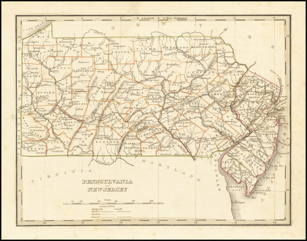 68-New Jersey and Pennsylvania Map By Thomas Gamaliel Bradford
