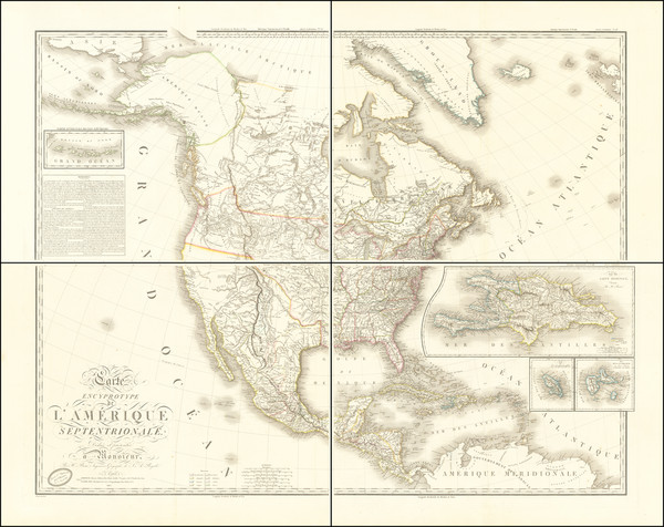 45-United States, Plains, Rocky Mountains, Pacific Northwest and North America Map By Adrien-Huber