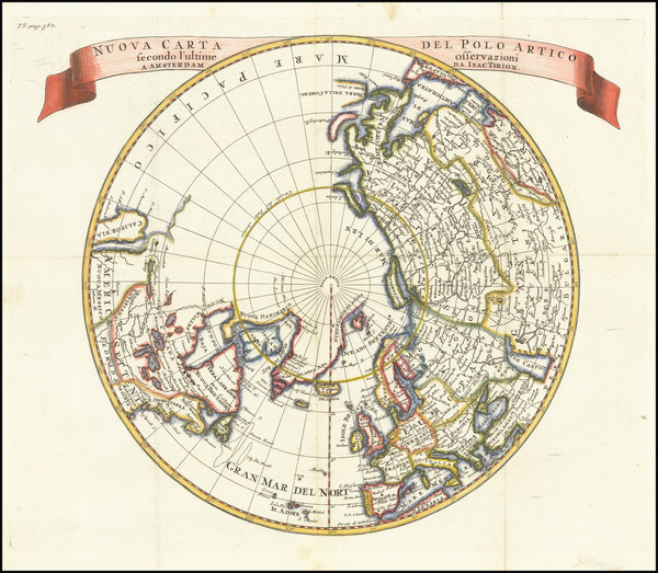 42-Polar Maps and California as an Island Map By Isaak Tirion