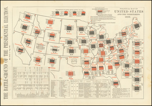 92-United States and Curiosities Map By Harper's Weekly