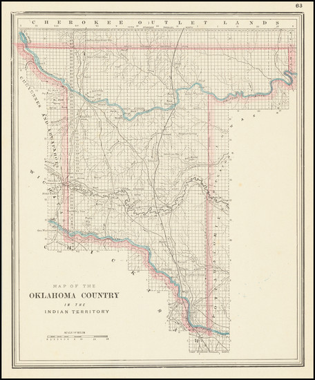 36-Oklahoma & Indian Territory Map By George F. Cram
