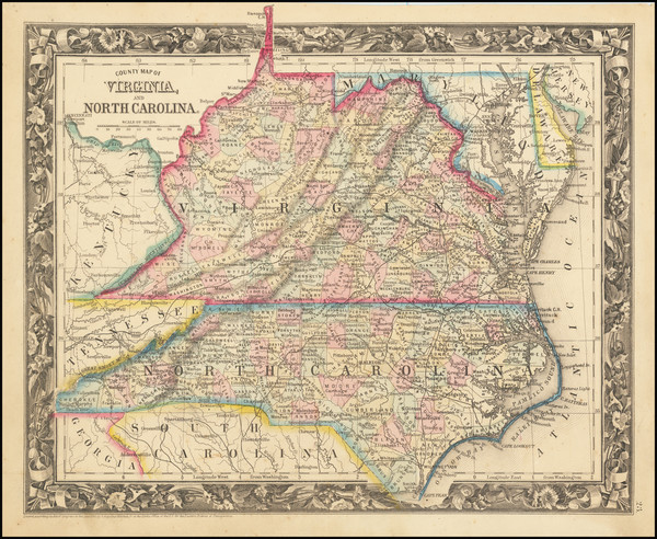 48-Virginia and North Carolina Map By Samuel Augustus Mitchell Jr.