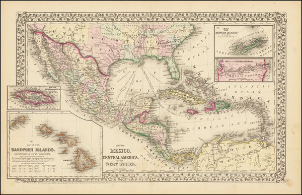 28-Hawaii, Mexico, Caribbean, Australia & Oceania and Hawaii Map By Samuel Augustus Mitchell J