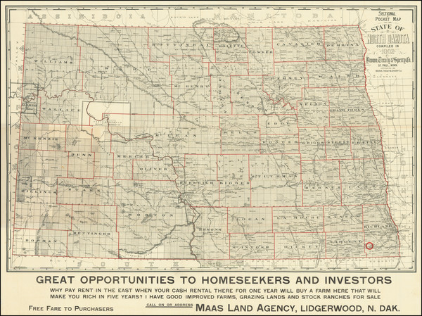 75-North Dakota Map By Brown, Treacy & Sperry Co.