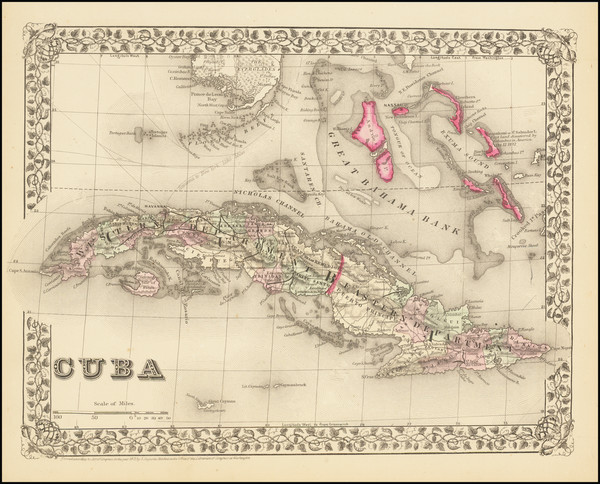 71-Cuba and Bahamas Map By Samuel Augustus Mitchell Jr.