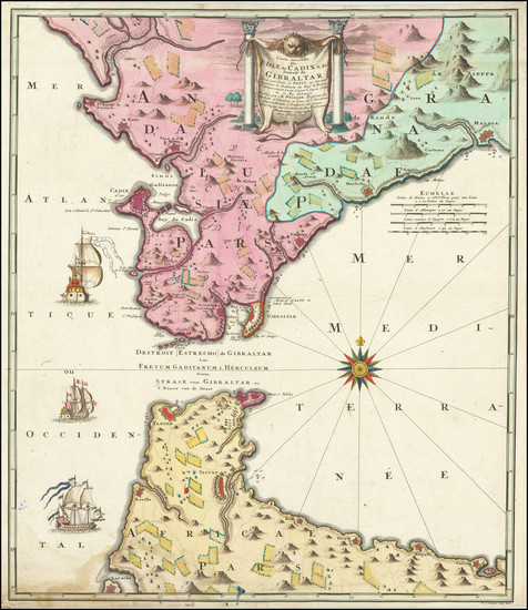 36-Europe, Spain, Mediterranean, Africa and North Africa Map By Johann Baptist Homann