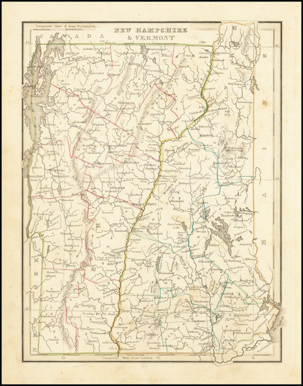 67-New Hampshire and Vermont Map By Thomas Gamaliel Bradford