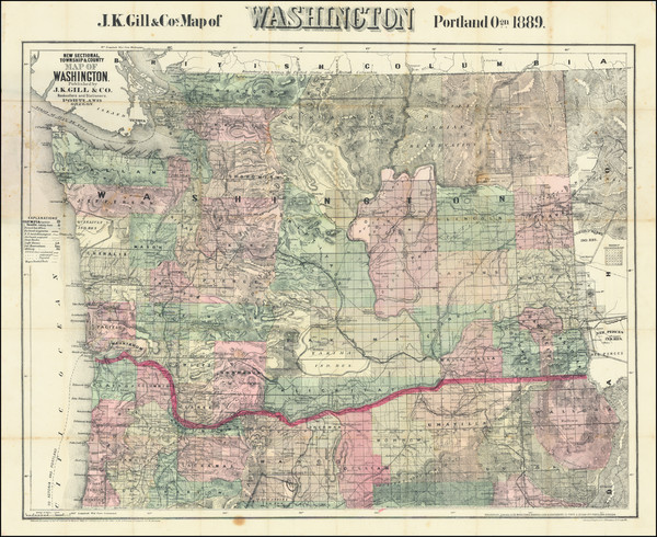 29-Washington Map By J.K. Gill & Co.