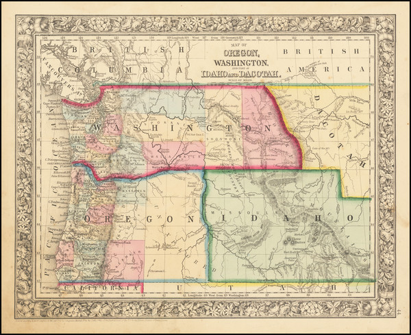52-Rocky Mountains, Idaho, Montana, Wyoming, Pacific Northwest, Oregon and Washington Map By Samue