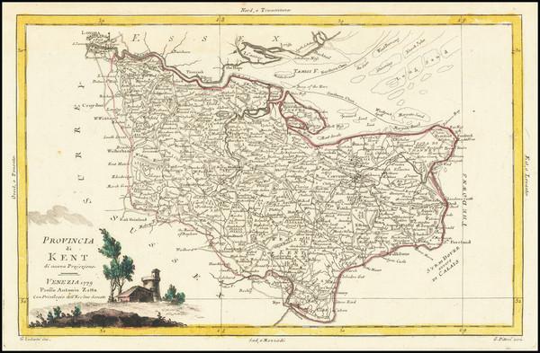 35-British Counties Map By Antonio Zatta