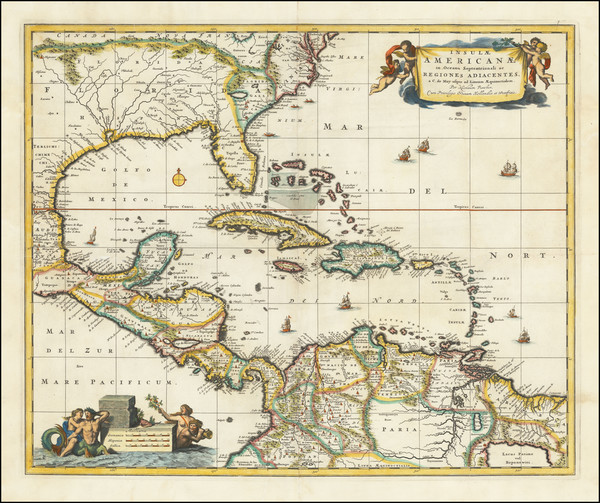 66-Florida, South and Caribbean Map By Nicolaes Visscher I