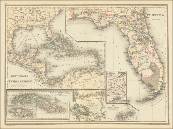 77-Florida, Mexico, Caribbean and Central America Map By Wm. Bradley & Co.