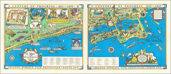 39-Illinois, Pictorial Maps and Chicago Map By Tony Sarg