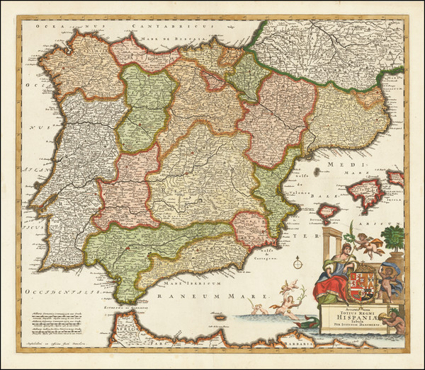 87-Spain and Portugal Map By Justus Danckerts