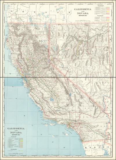 48-Nevada and California Map By George F. Cram