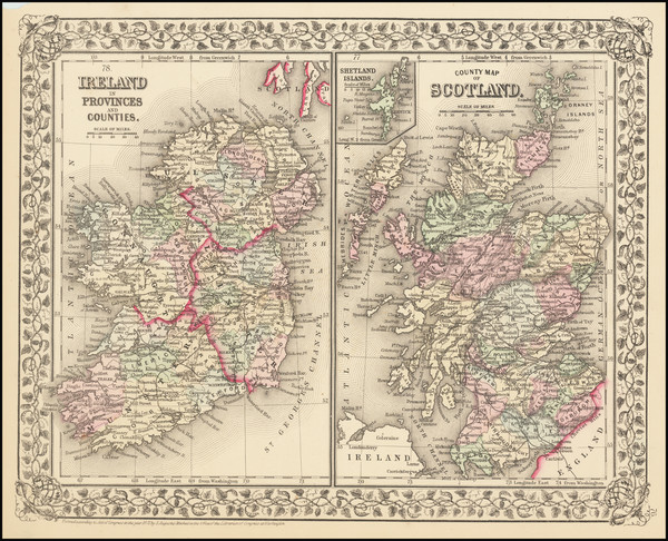 29-Scotland and Ireland Map By Samuel Augustus Mitchell Jr.