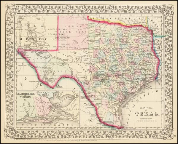 32-Texas Map By Samuel Augustus Mitchell Jr.