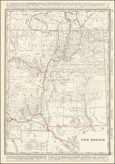75-New Mexico Map By George F. Cram