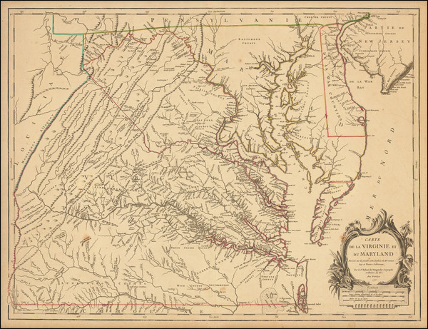14-Mid-Atlantic, Maryland, Delaware, Southeast and Virginia Map By Gilles Robert de Vaugondy