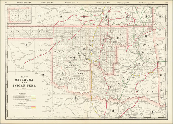 57-Oklahoma & Indian Territory Map By George F. Cram