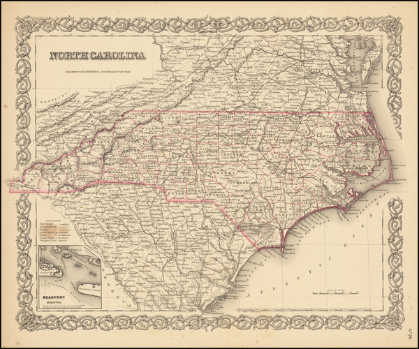 55-North Carolina Map By Joseph Hutchins Colton