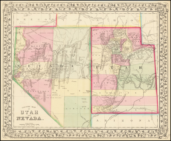 94-Utah, Nevada and Utah Map By Samuel Augustus Mitchell Jr.