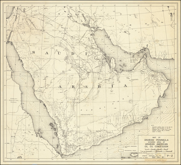 92-Middle East and Arabian Peninsula Map By Arabian American Oil Co.