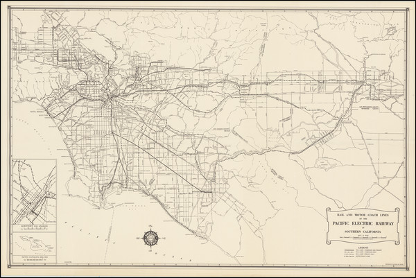 34-California and Los Angeles Map By Pacific Electric Railway