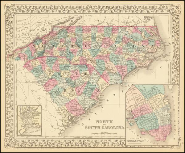 11-North Carolina and South Carolina Map By Samuel Augustus Mitchell Jr.