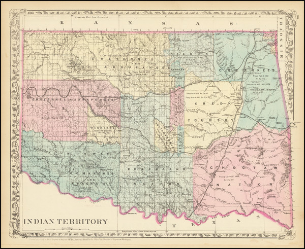 12-Oklahoma & Indian Territory, Colorado and Colorado Map By Samuel Augustus Mitchell Jr.