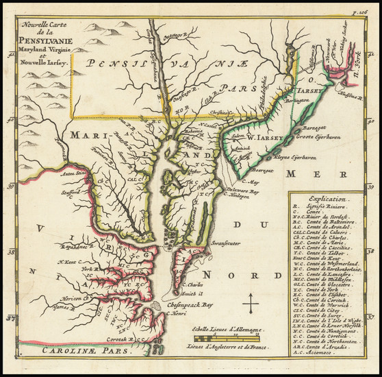 94-Mid-Atlantic and Southeast Map By Richard Blome - Abraham Wolfgang