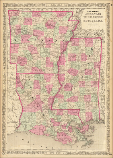 79-Louisiana, Mississippi and Arkansas Map By Alvin Jewett Johnson